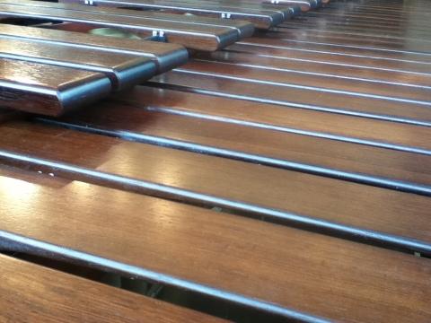 marimba bars closeup